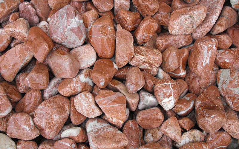 canto rodado marmol rojo alicante